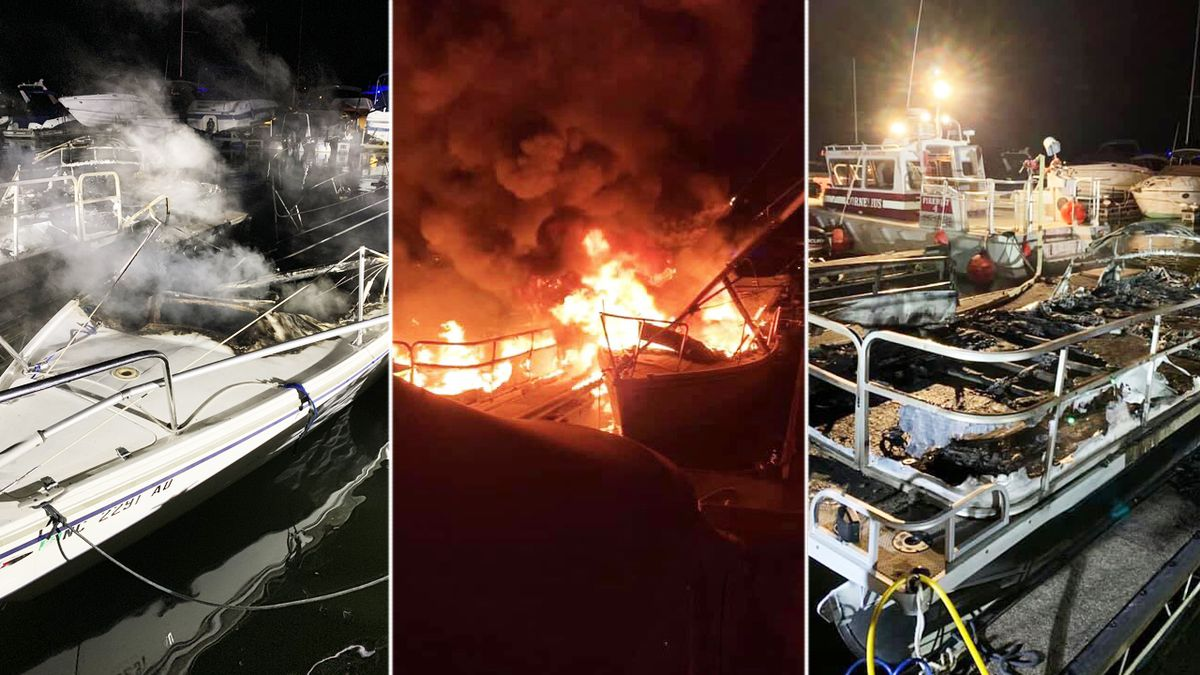 Boats go up in flames as firefighters battle blaze at Lake Norman marina
