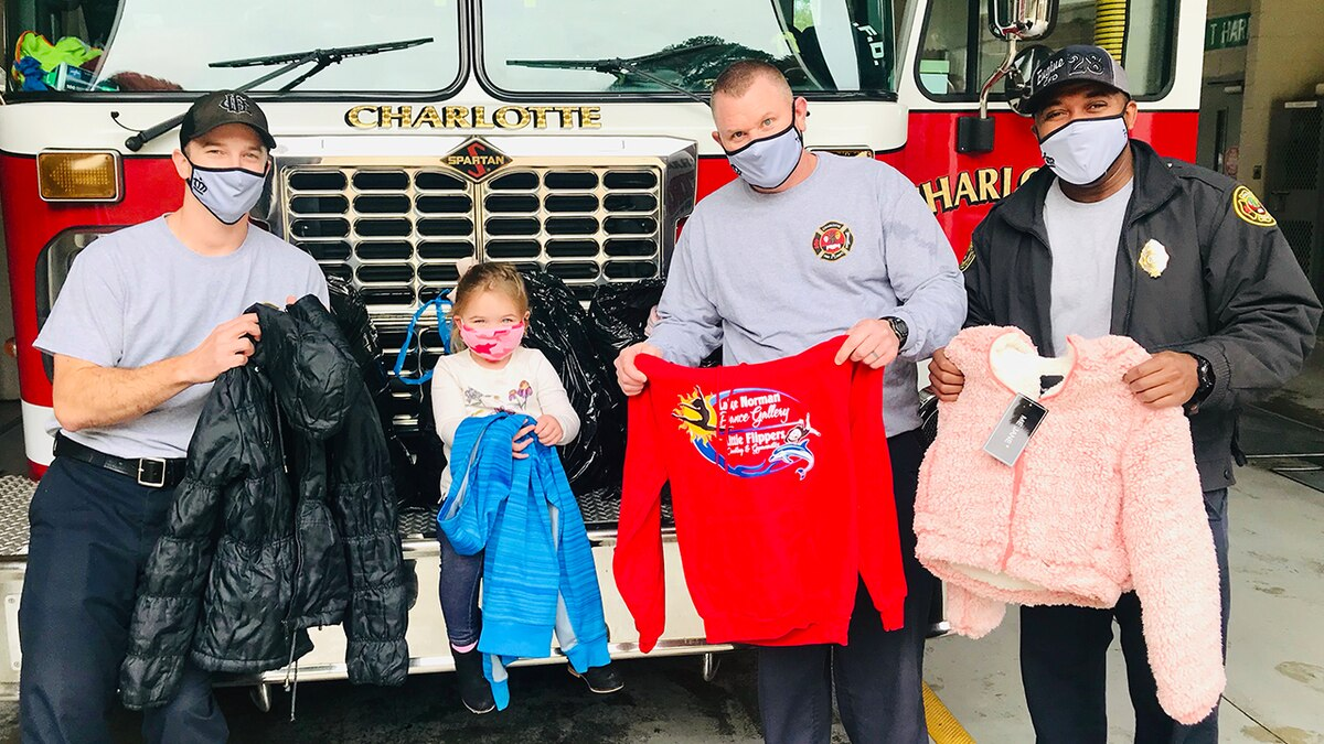2-year-old and family deliver 175 donated coats to Charlotte Fire Department