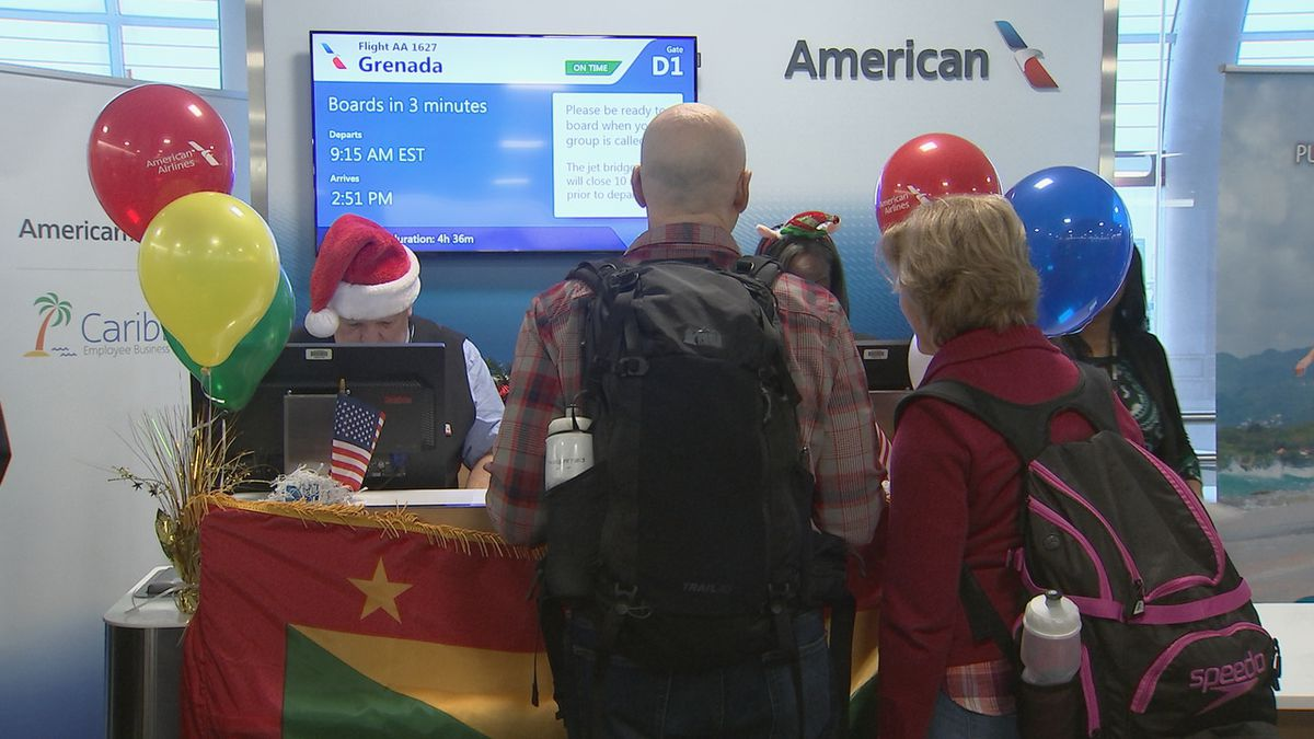 New American Airlines flight departs from Charlotte to Grenada