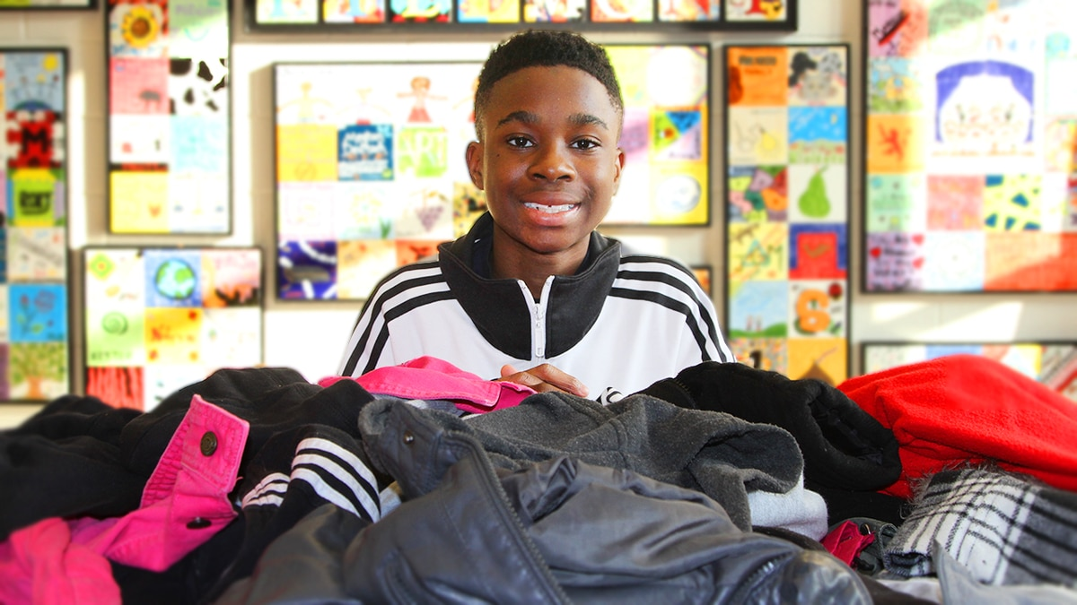 Charlotte middle school student close to zipping up 500 coat goal for kids in need