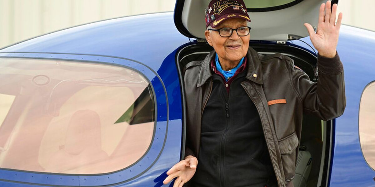 Tuskegee Airman celebrates 100th birthday by flying plane