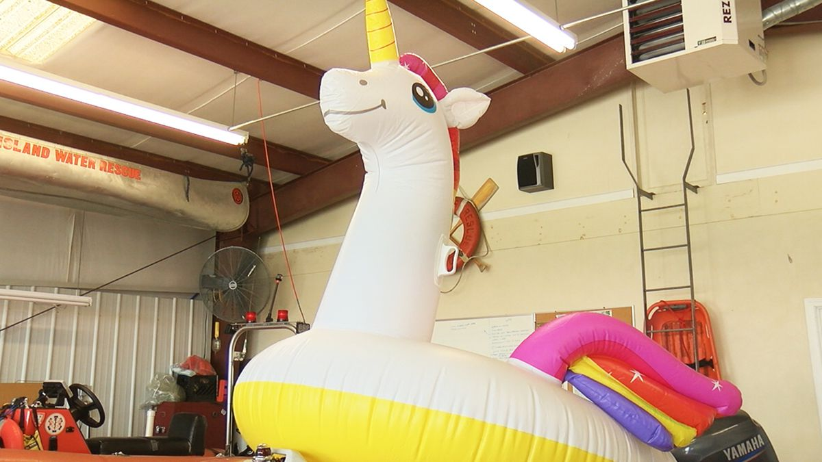 8-year-old on unicorn-shaped float rescued at sea off Oak Island