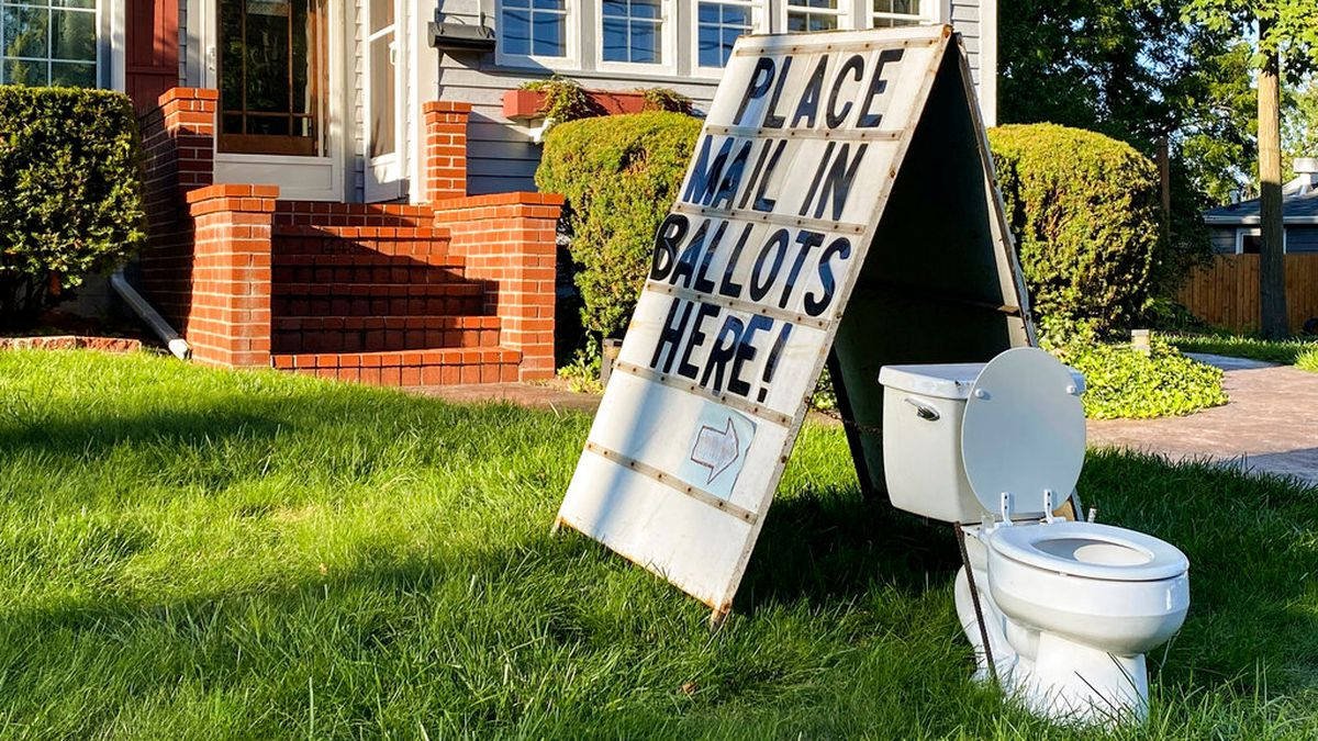 Toilet display mocking mail-in voting in Michigan yard is a crime, official says
