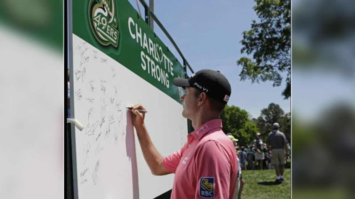 PGA golfers remember UNC Charlotte shooting victims with green ribbons