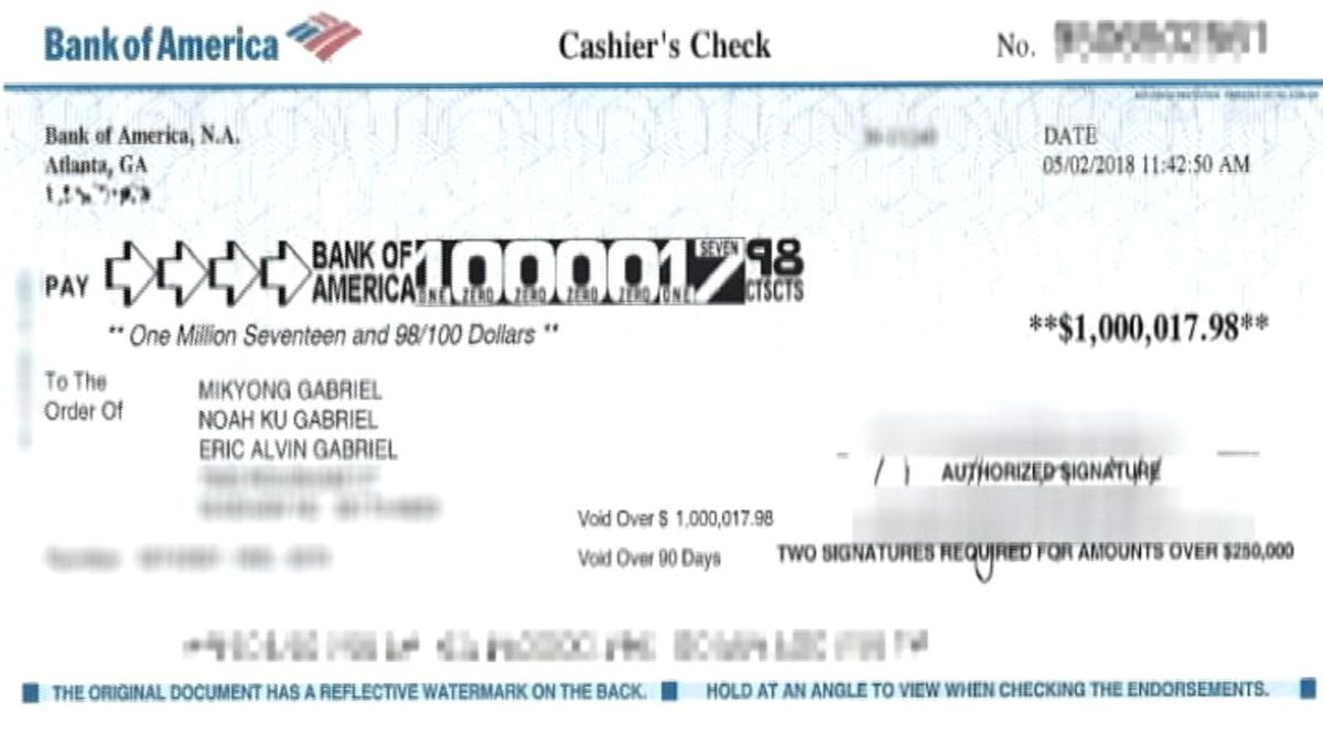 bank of america cashiers check limit