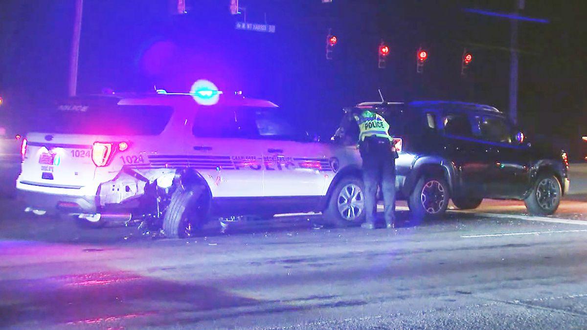 Car crashes into CMPD cruiser responding to disabled SUV
