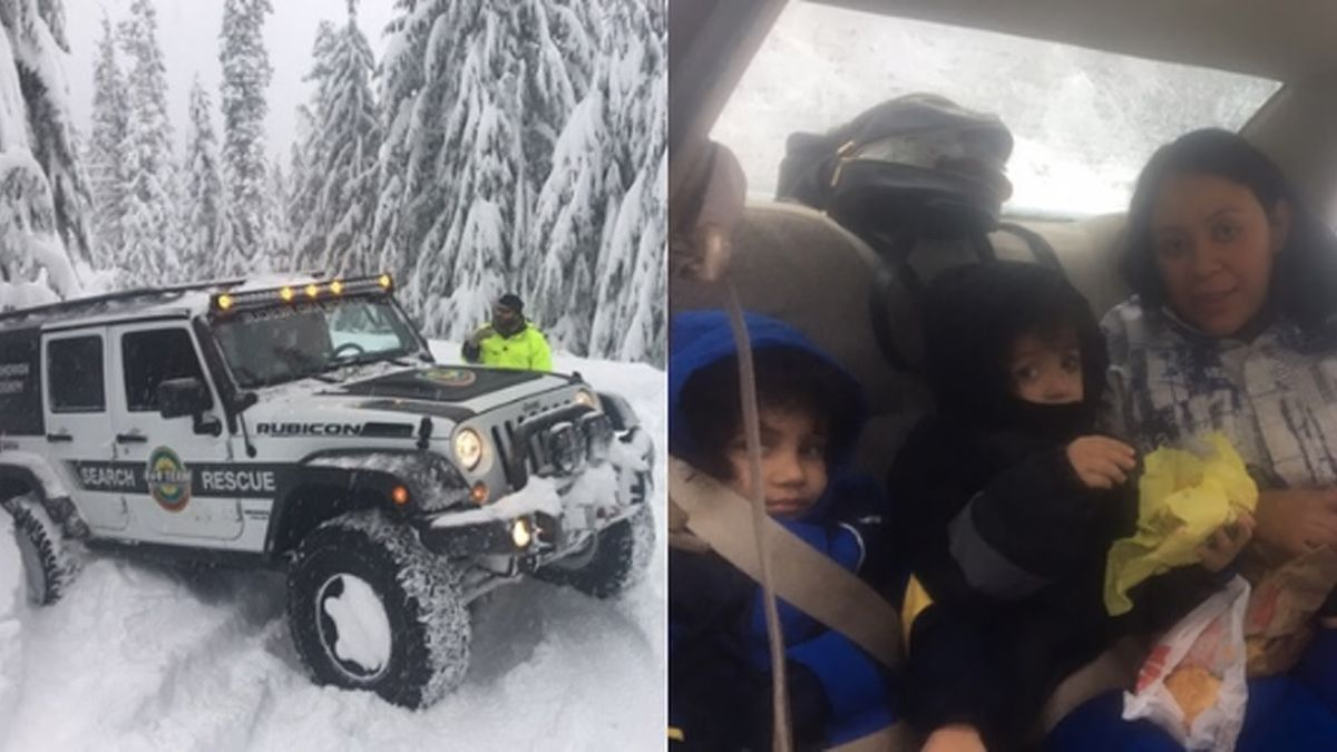 Washington family of four stranded in a car overnight in heavy snow