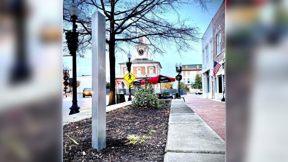 Mysterious mini monolith appears in downtown Fayetteville