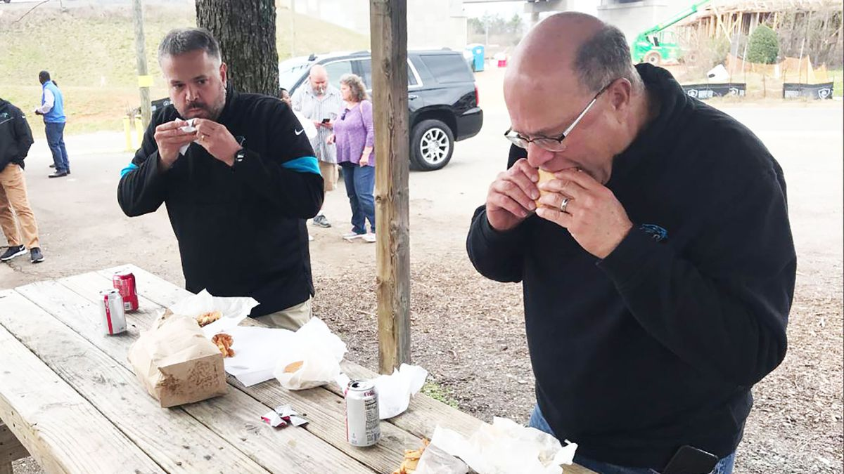 More than a burger: Panthers owner, coach visit Brooks' Sandwich House after tragedy