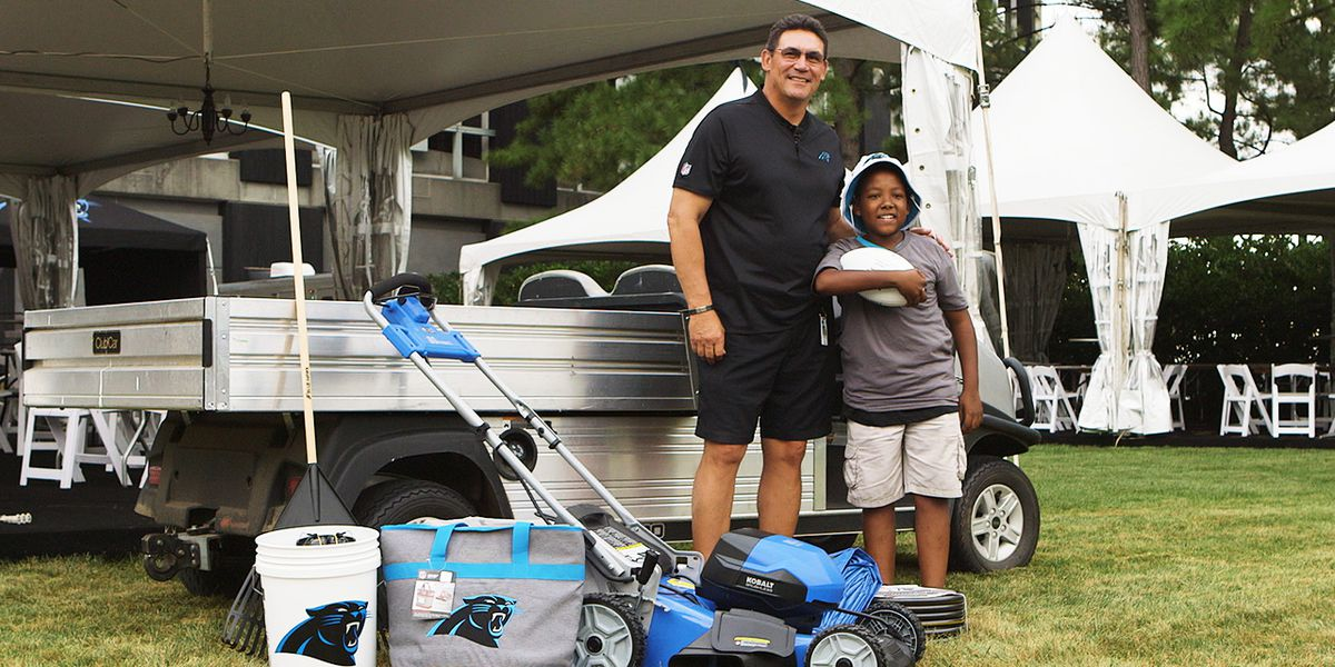 Panthers, Lowes surprise 12-year-old who mows lawns to pay for college